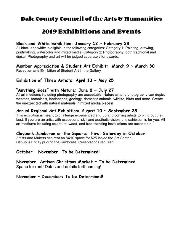 Rudd Art Center Calendar of Events - Dale County Council of